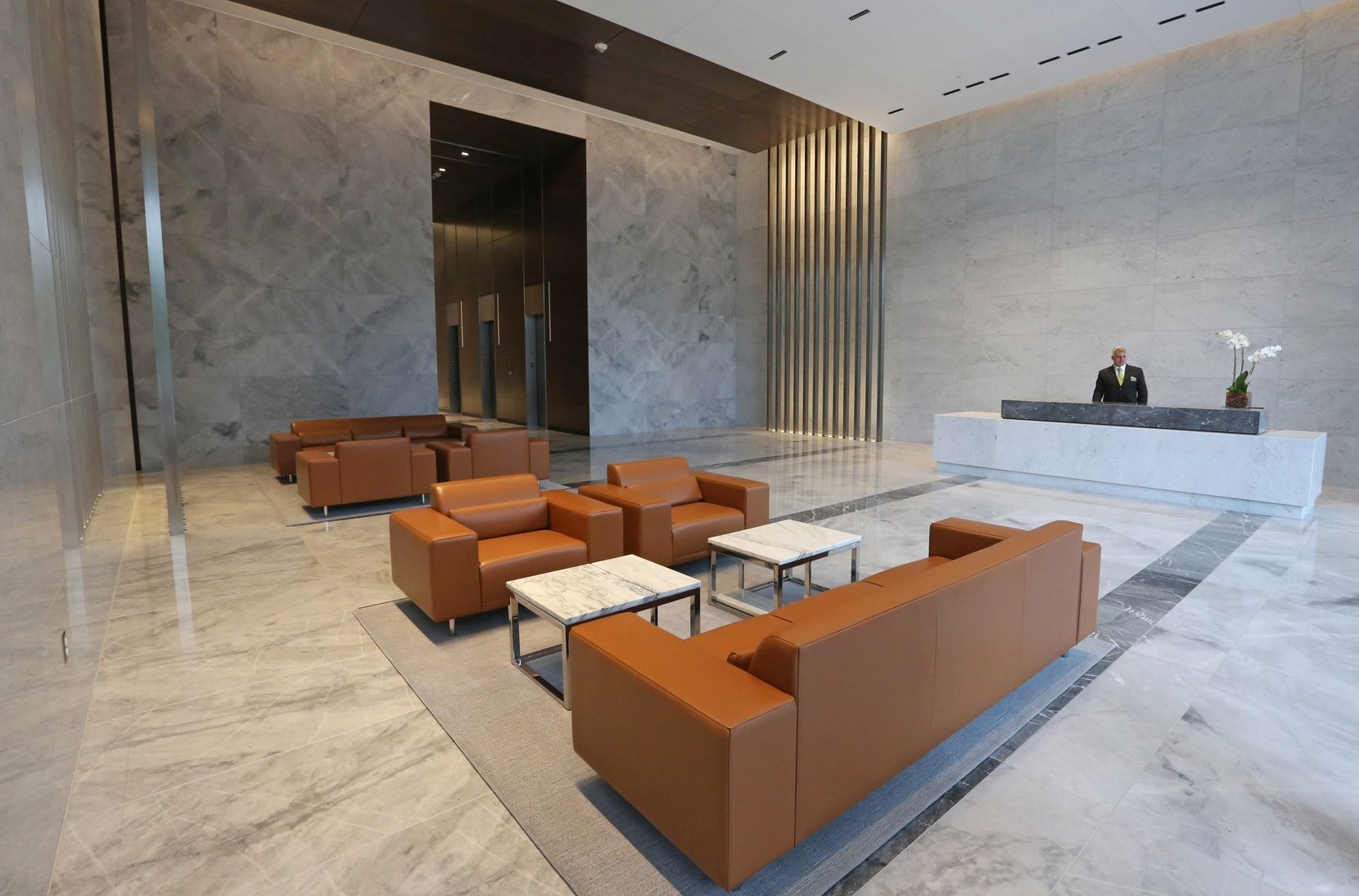 The spacious lobby of 1900 Pearl Tower, the newest downtown Dallas office building, at Pearl and Woodall Rodger.