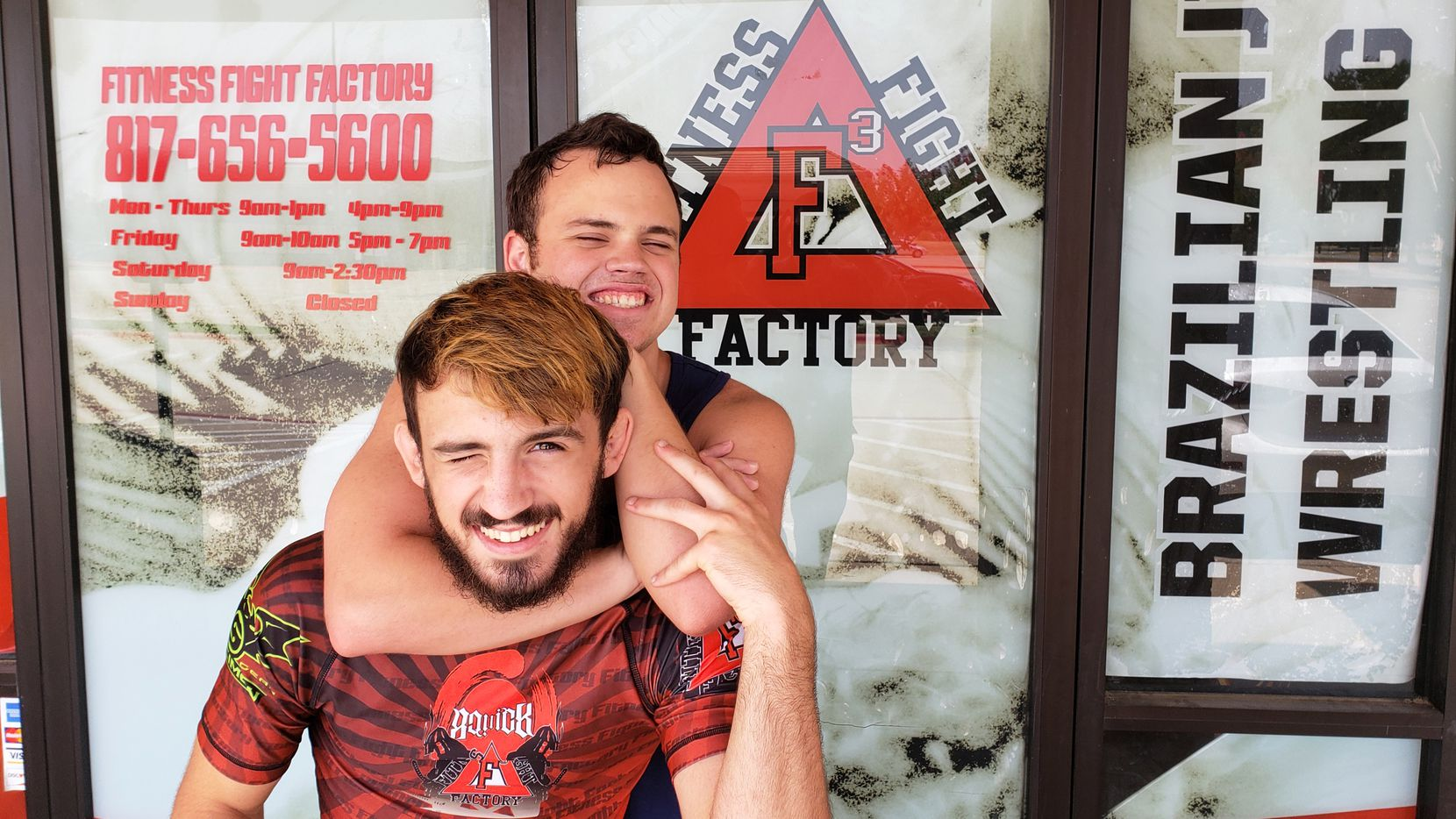Devin and Dylan Miller at Fitness Fight Factory in North Richland Hills, Texas. Devin, a mixed martial arts fighter, holds a special needs class for his brother Dylan and others with autism. (Mark Francescutti)