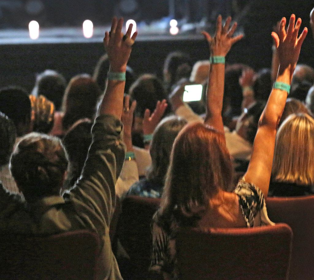 The crowd responds to a question from Dr. Michael Waters during the We Rise Tour to fight hatred and racism, in a performance at the House of Blues in Dallas, photographed on Friday, August 18, 2017. (Louis DeLuca/The Dallas Morning News)