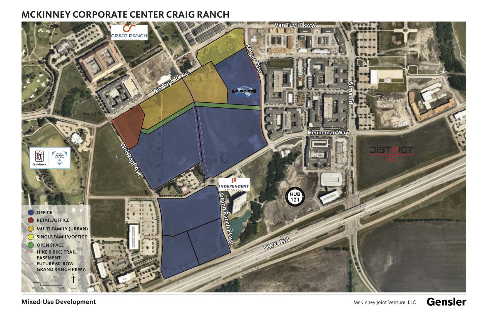 The 80-acre mixed-use project north of S.H. 121 will include commercial and residential buildings.