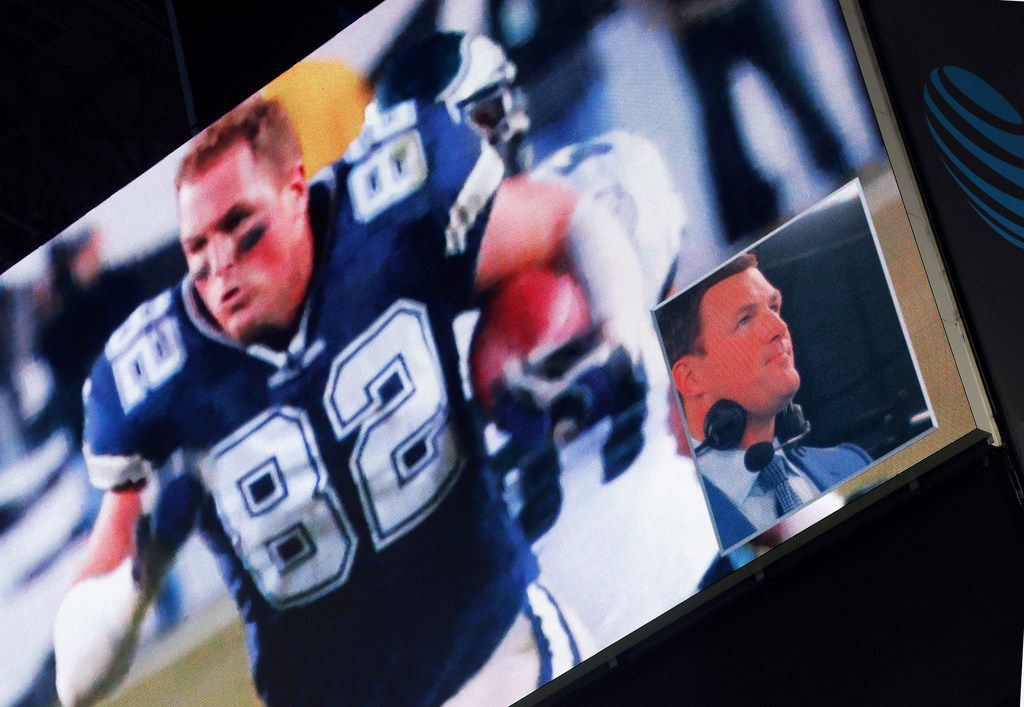 FILE - Jason Witten (lower right) reacts to a video tribute of him before the Cowboys' game against the Tennessee Titans at AT&T Stadium in Arlington on Monday, Nov. 5, 2018. (Tom Fox/The Dallas Morning News)