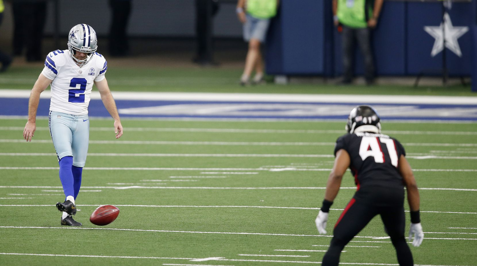 Dallas Cowboys kicker Greg Zuerlein (2) attempts an onside kick against the Atlanta Falcons during the fourth quarter of play at AT&T Stadium in Arlington, Texas on Sunday, September 20, 2020.