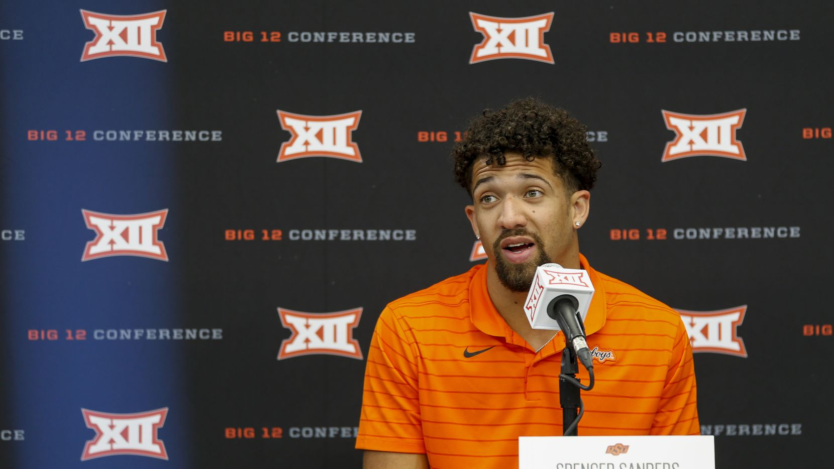 Oklahoma State quarterback Spencer Sanders speaks during a breakout session at the Big 12 Conference Media Days at AT&T Stadium on Thursday, July 15, 2021, in Arlington.