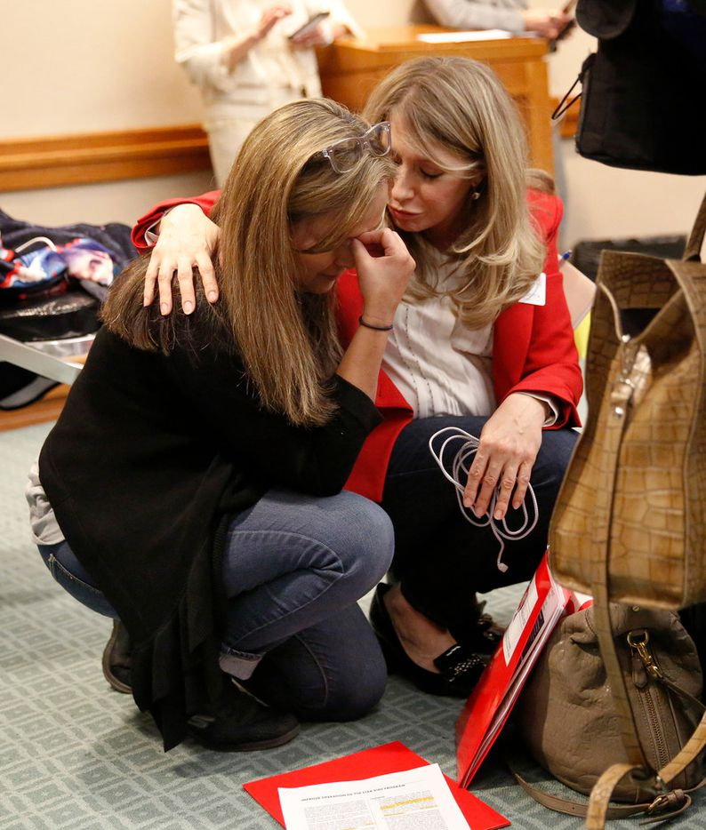 Hannah Mehta of Protect Fragile TX Children (right) comforts mother Gabriella McCann of Bulverde, Texas after McCann testified on behalf of her medically fragile son, Briar, on House Bill 2453 during the House Human Services Committee in the Texas State Capitol extension in Austin, Tuesday, April 2, 2019. The Bill, represented by Texas Representative Sarah Davis of District 134 (R-West University Place), relates to the operation and administration of Medicaid, including the Medicaid managed care program. The first major piece of legislation was filed on behalf of Texas' most medically fragile children. (Tom Fox/The Dallas Morning News)