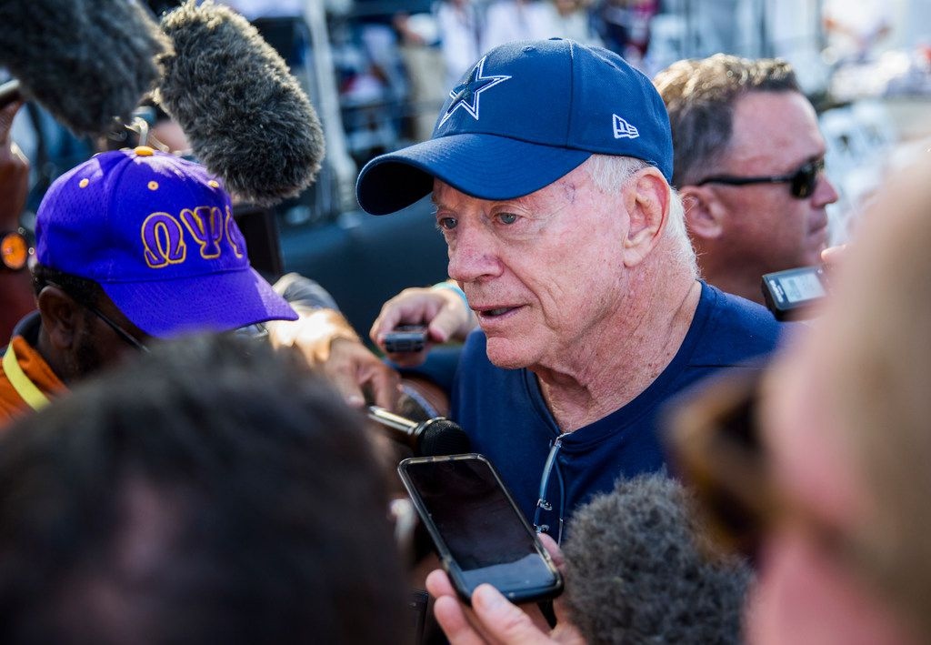 Dallas Cowboys owner Jerry Jones answers questions from reporters during an afternoon practice at training camp in Oxnard, California on Tuesday, August 13, 2019. (Ashley Landis/The Dallas Morning News)
