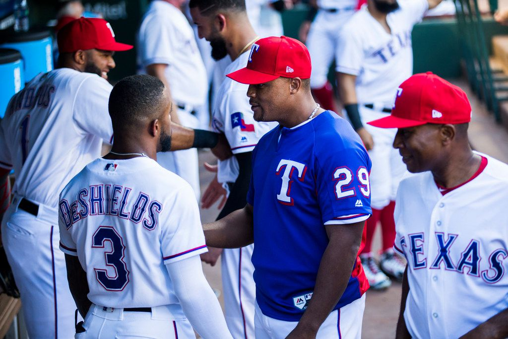 Texas Rangers third baseman Adrian Beltre (29) jokes with team mates in the dugout before an MLB game between the Texas Rangers and the Los Angeles Angels on Thursday, August 16, 2018 at Globe Life Park in Arlington. (Ashley Landis/The Dallas Morning News)