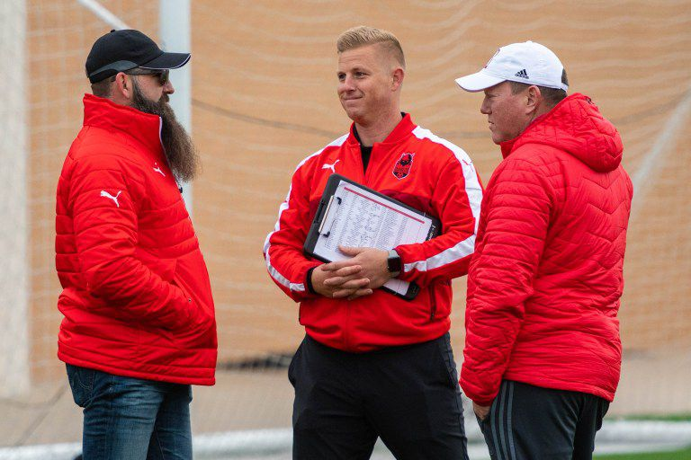 The Denton Diablos leadership: co-owner Damon Gochneaur (left), Head Coach Chad Rakestraw (center), and General Manager Rusty Oglesby (right).