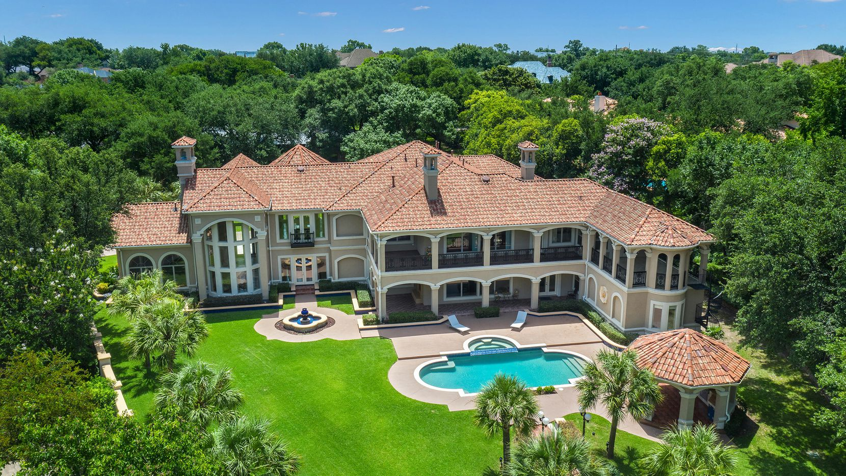 The Mediterranean estate at 5920 Gladeside Court overlooks Preston Trails Golf Course and is listed at $2,895,000.
