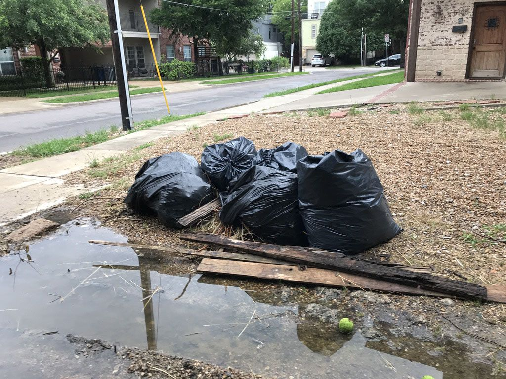 In May of 2019, neighbors volunteers cleaned as much trash and weeds out of the alley as they could, while spring rains continued to flood the alley creating a wet, muddy, breeding ground for mosquitos.