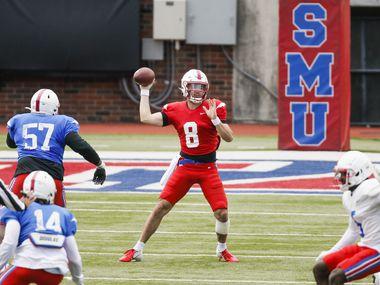 SMU quarterback Tanner Mordecai (8) throws during practice at Gerald Ford Stadium, Saturday, April 17, 2021. (Brandon Wade/Special Contributor)