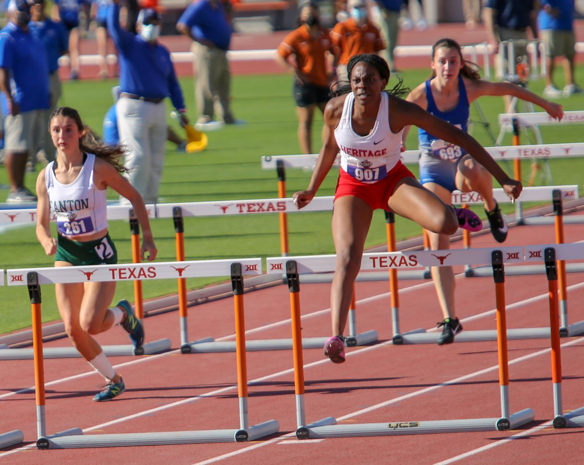 Midlothian Heritage's Leah Anderson competes and places first during her 4a girls 100 hurdles at the UIL state track meet at the Mike A. Myers Stadium, at the University of Texas on May 6, 2021 in Austin, Texas.