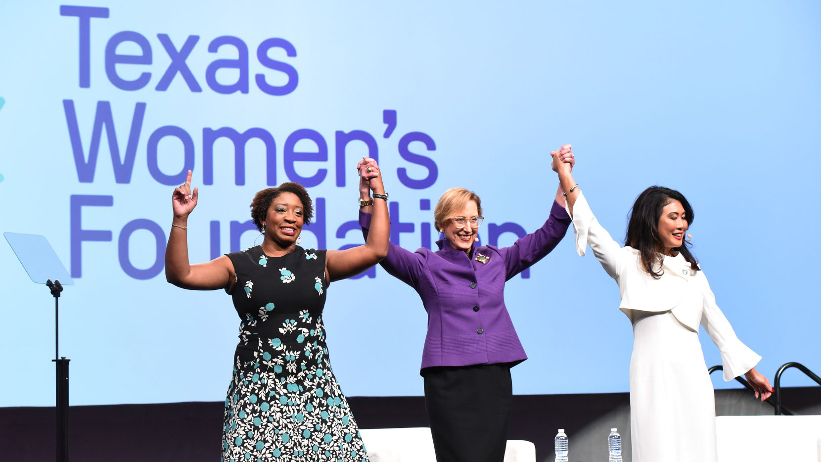 Roslyn Dawson Thompson (center) is retiring at the end of 2021 after leading the Texas Women's Foundation for a decade.