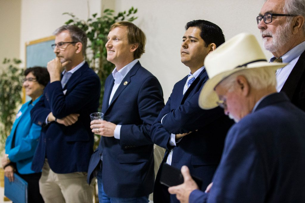 Gubernatorial candidates line up before they are introduced at The Mid-Cities Democrats Gubernatorial Forum and Chili Dinner on Tuesday, February 6, 2018 at the UAW 218 Union Hall in Hurst, Texas.