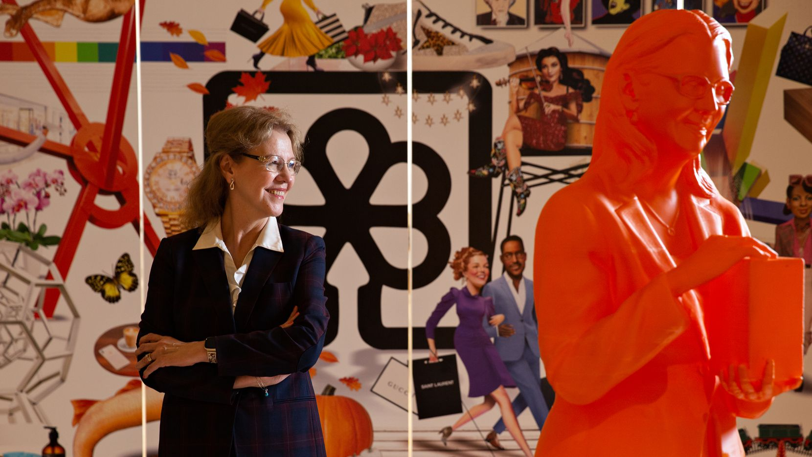 Dr. Minerva Codero is one of 125 women included in #IfThenSheCan exhibit, honoring women who are leaders in STEM. Her 3D printed orange statue is displayed at the North Park Center in Dallas, TX. (Shelby Tauber/Special Contributor)