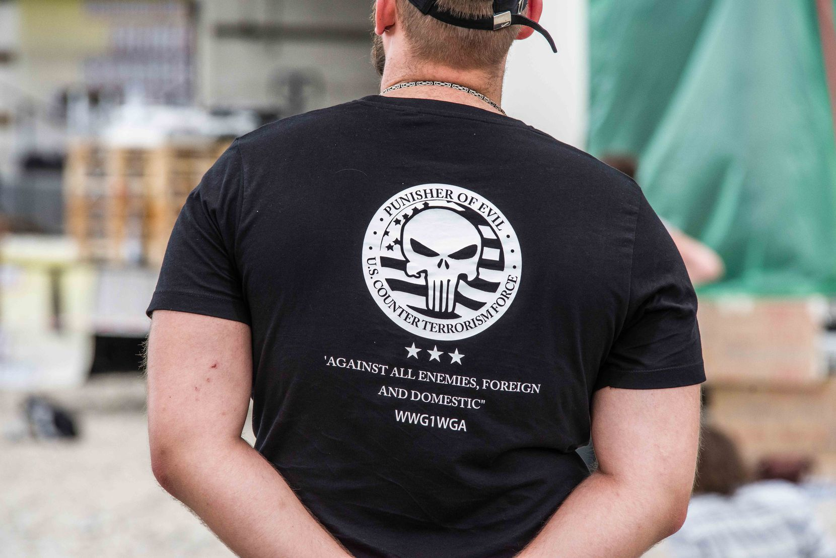 The Punisher logo as seen on a QAnon T-shirt in Munich, Germany, in July 2020.