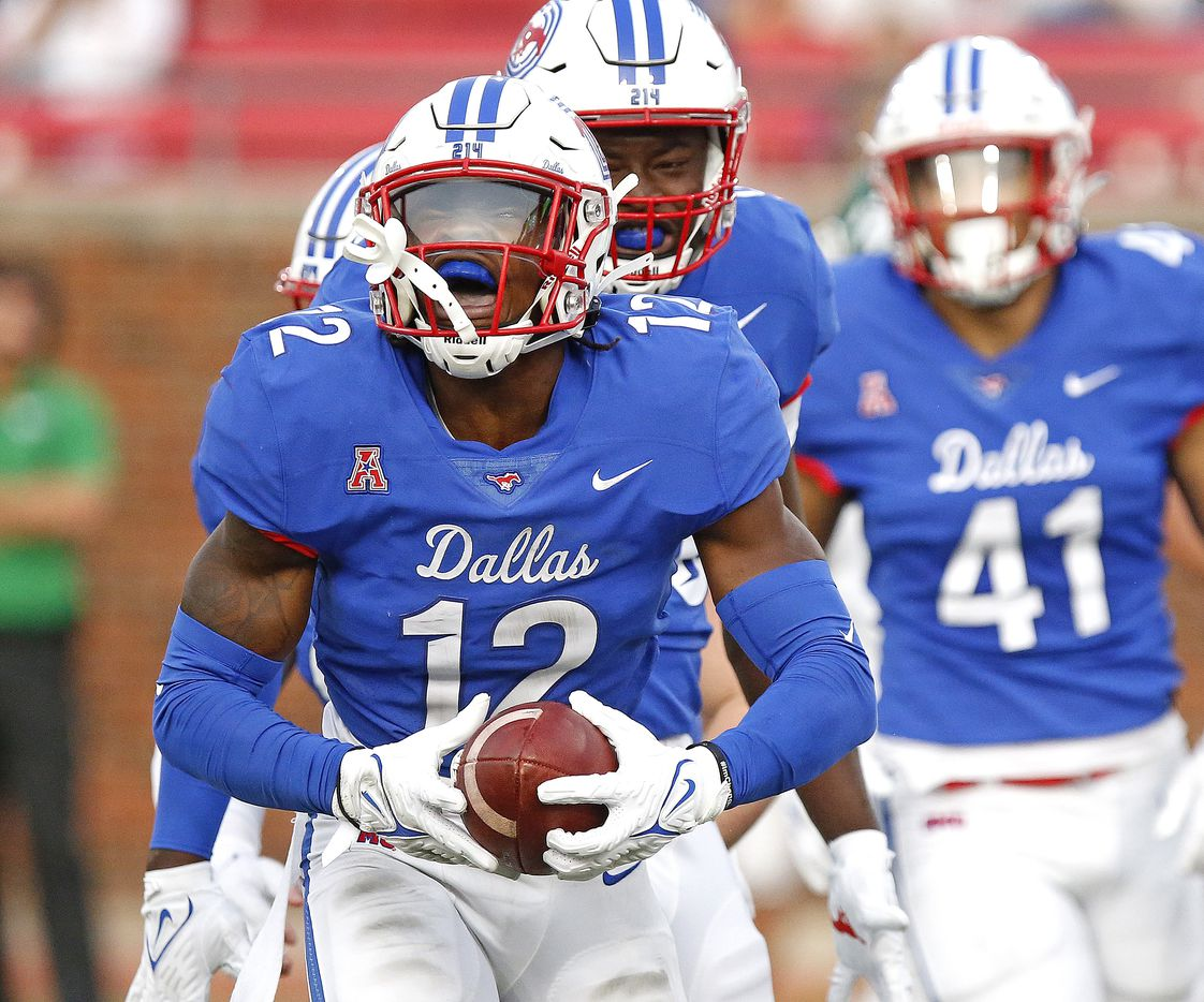 Southern Methodist Mustangs safety Isaiah Nwokobia (12) celebrates a turnover during the first half as SMU hosted UNT at Ford Stadium in Dallas on Saturday, September 11, 2021. (Stewart F. House/Special Contributor)