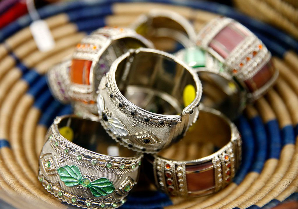 Bracelets are on display in the jewelry section at Pan African Connection in Dallas.