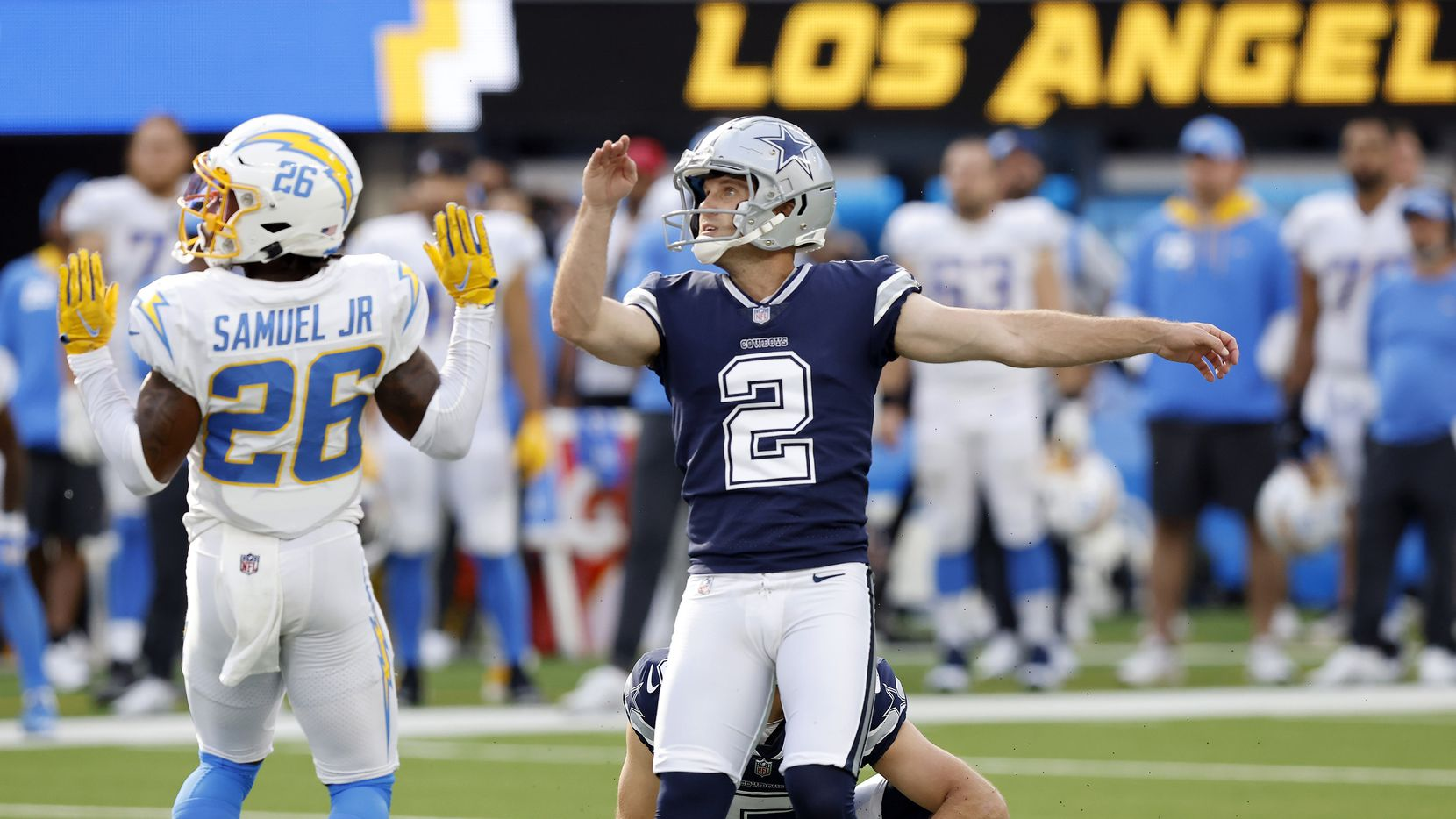 Dallas Cowboys place kicker Greg Zuerlein (2) watches his winning field goal at the end of the game to defeat the Los Angeles Chargers, 20-17, at SoFi Stadium in Inglewood, California, Sunday, September 19, 2021.