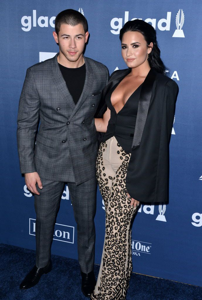 Nick Jonas and Demi Lovato attend the 27th Annual GLAAD Media Awards on April 2, 2016 at the Beverly Hilton Hotel in Beverly Hills, Calif.