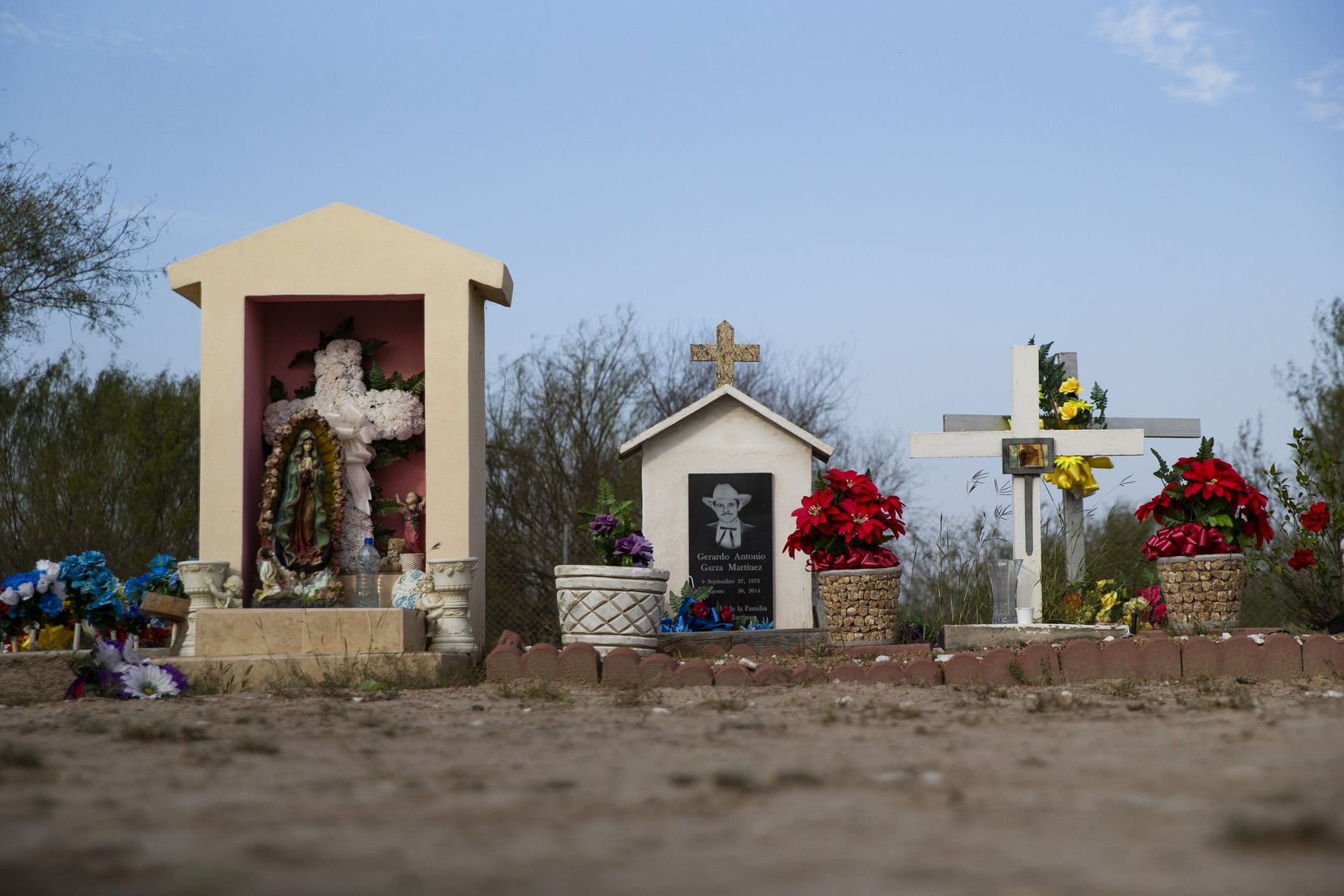 Grave sites at the cemetery in La Grulla in South Texas
