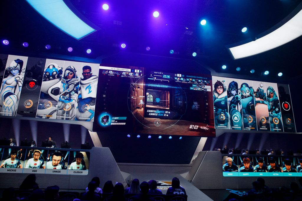 "Guangzhou Charge's ""Happy"" eliminates Mickie and ZachaREEE during the Overwatch League match between the Dallas Fuel and Guangzhou Charge on Sunday, August 18, 2019 at Blizzard Arena in Burbank, CA. (Photo by Patrick T. Fallon/Special Contributor to The Dallas Morning News)"