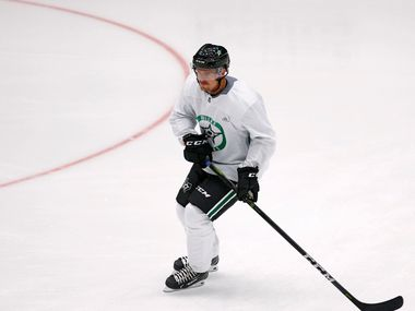 Dallas Stars Emil Djuse (40) warms up with the team during the Dallas Stars prospect camp at Comerica Center in Frisco, Texas on Wednesday, June 26, 2019. (Vernon Bryant/The Dallas Morning News)