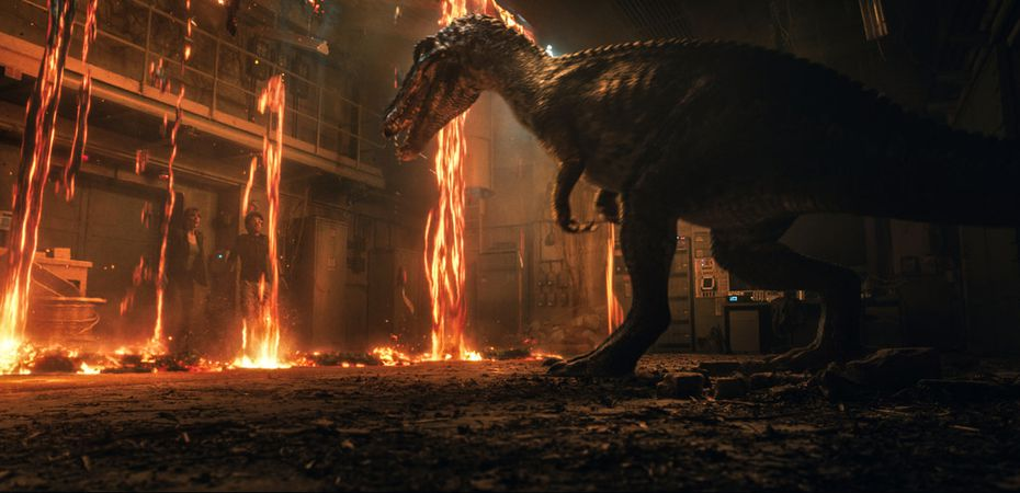 """Bryce Dallas Howard, left, and Justice Smith in a scene from the upcoming """"Jurassic World: Fallen Kingdom."""""""