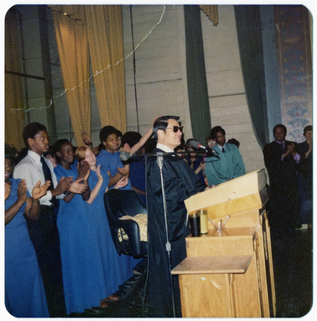 Jim Jones preaching, unknown location or date
