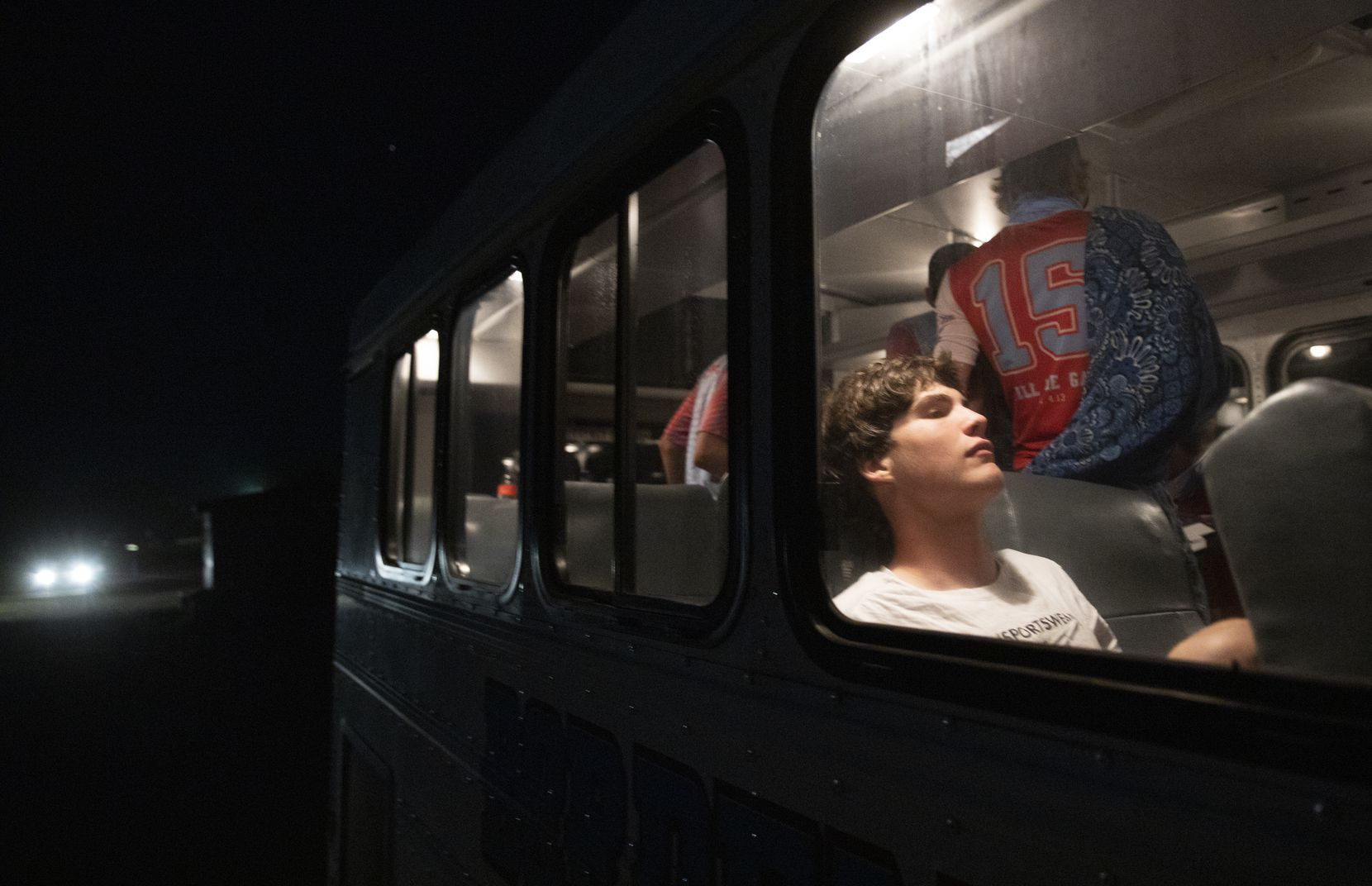 Borden County High School football players board the bus after winning their first season game against Calvert at Longhorn Stadium on Aug. 27, 2020 in Gordon.
