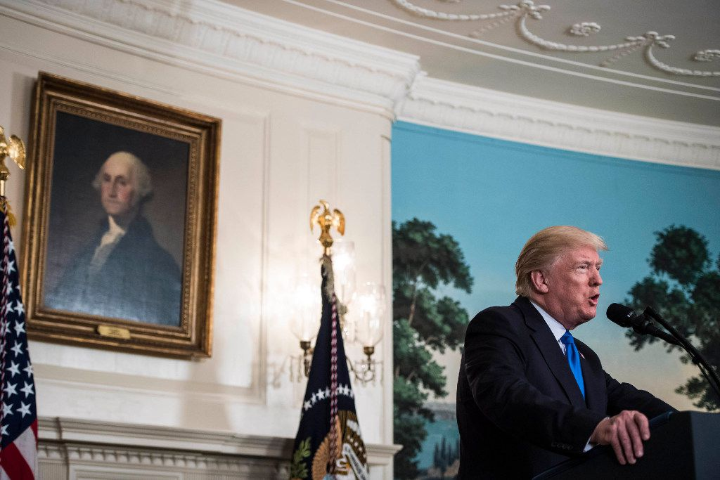 President Donald Trump makes a statement from the Diplomatic Room of the White House after House Majority Whip Steve Scalise, R-La., and four others were shot during a congressional baseball practice in Alexandria, Va.