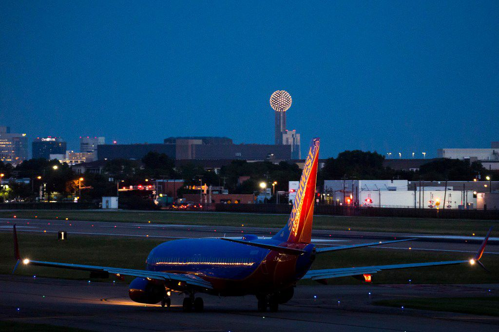 A Southwest Airlines 737 prepares to take off at Dallas Love Field.