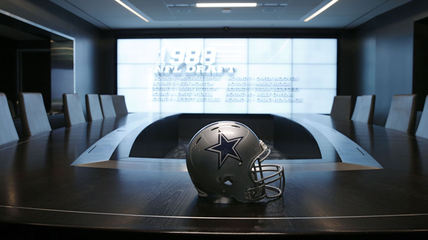The Dallas Cowboys' war room is pictured here at The Star in Frisco on Tuesday, July 17, 2018.