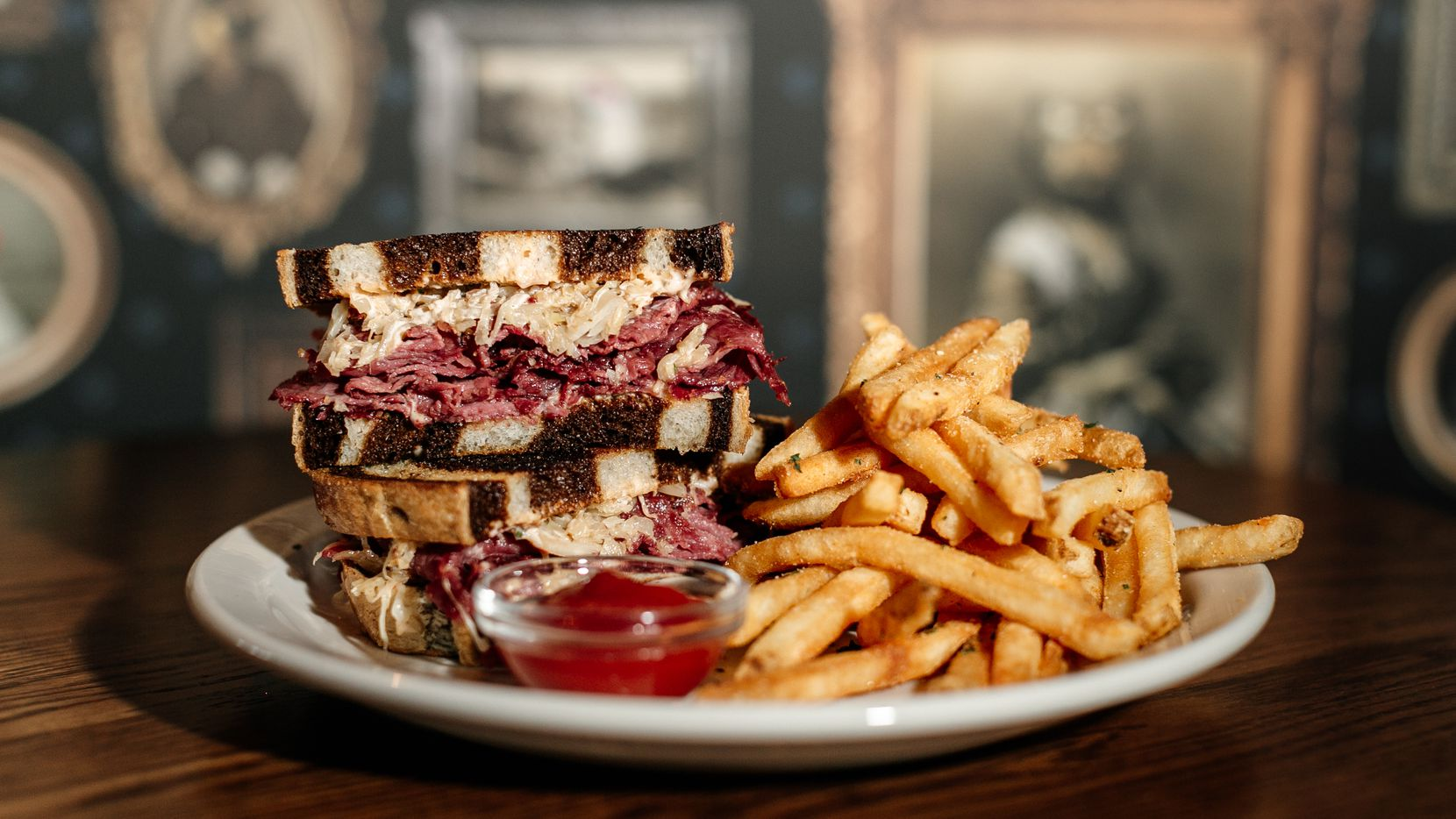 Harwood Arms is a new pub in Dallas selling reuben sandwiches (pictured), plus fish and chips and other across-the-pond dishes. It opens Dec. 7, 2020.
