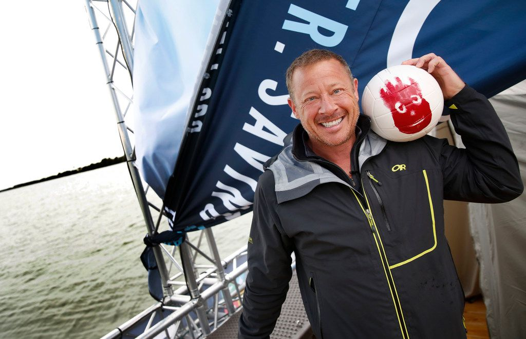 Todd Phillips, founder and director of The Last Well, poses for a photograph with his Wilson ball on Day Eight on his wooden barge on Lake Ray Hubbard in Rockwall, Texas, on Wednesday, Oct. 17, 2018. Phillips is planning to stay on the barge until he is able to raise $2 million for Liberians to have clean water.