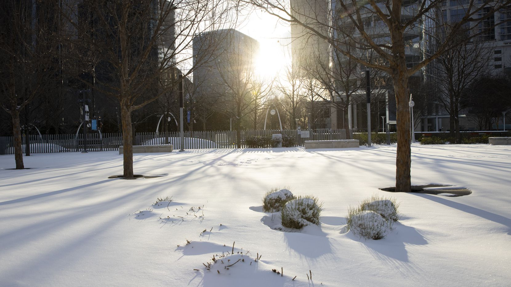 Snow covers Klyde Warren Park in Downtown Dallas on Monday.