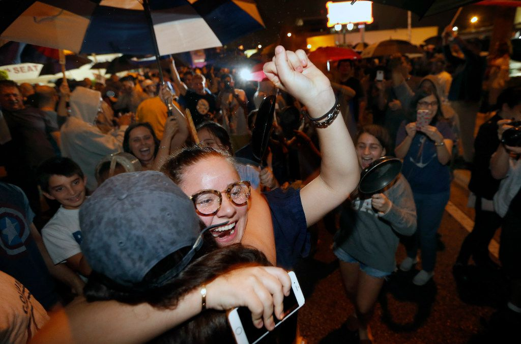 Cuban-Americans celebrate the death of Fidel Castro early Saturday in the Little Havana area in Miami. (AFP/Getty images photo / Rhona Wiserhona)