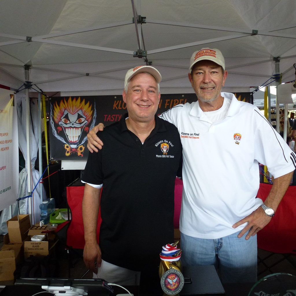 Klowns on Fire, Ron Dillon (left) and Greg Hallmark, are relatively new barbecue-and-hot-sauce team  who glean the flavor from scorching hot chiles.