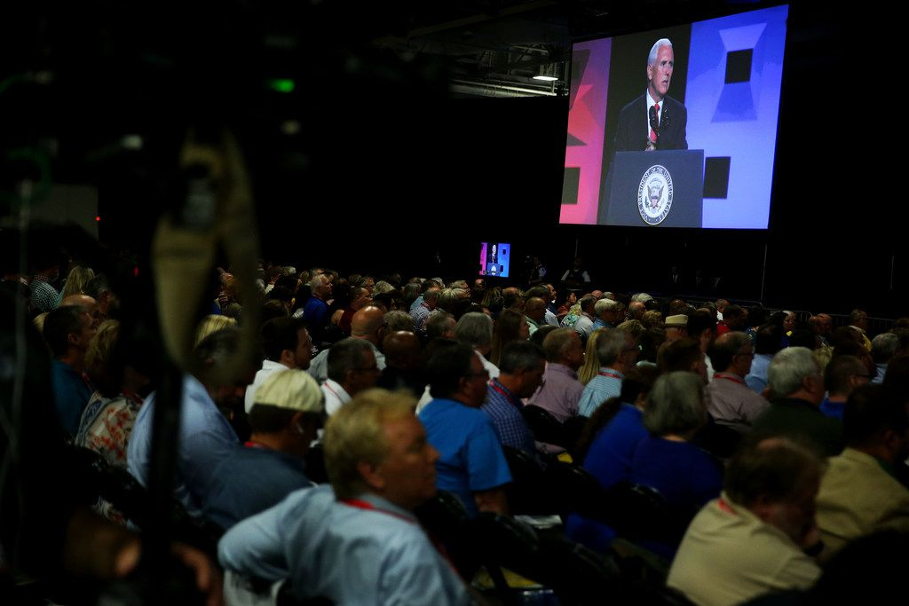 A crowd of nearly 10,000 delegates attended Vice President Mike Pence's address.