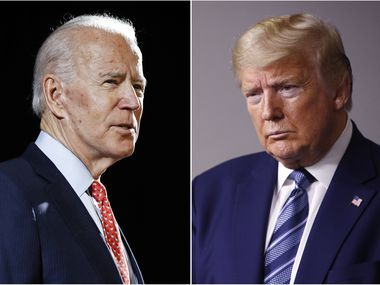 Former Vice President Joe Biden speaks in Wilmington, Del., on March 12, 2020, left, and President Donald Trump speaks at the White House on April 5, 2020. (AP Photo, File)