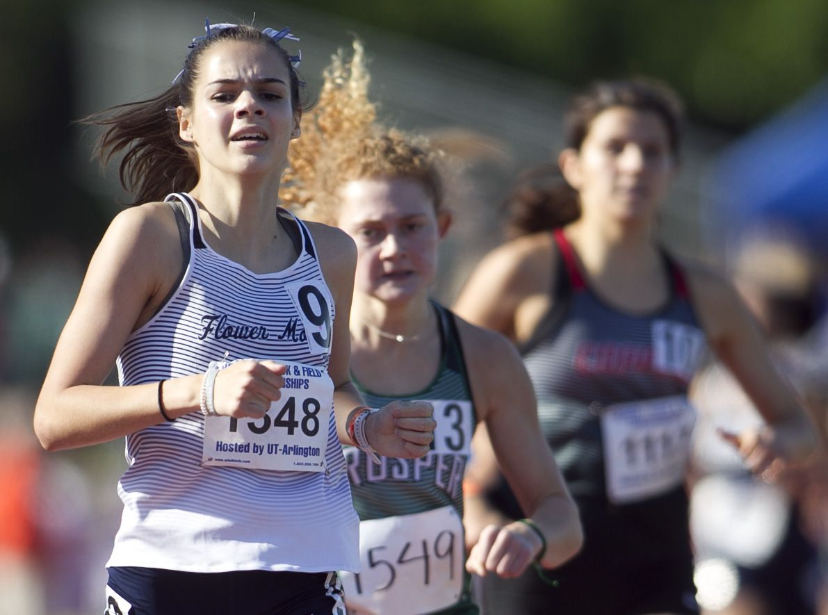 Flower Mound's Nicole Humphries finishes strong to win the Class 6A Girls 800 Meter Run event. The  Class 6A Region 1 and Class 5A Region ll track and field meets were held at UTA' s Maverick Stadium in Arlington on April 24, 2021.