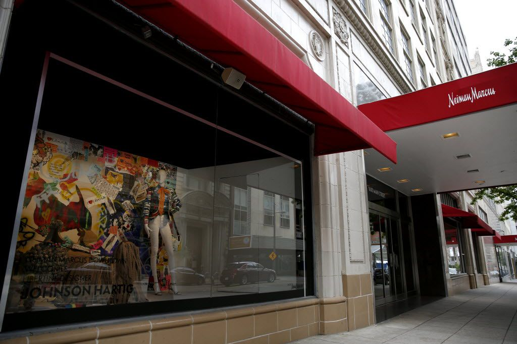 The Main Street entrance to Neiman Marcus in downtown Dallas on April 12. (Rose Baca/The Dallas Morning News)