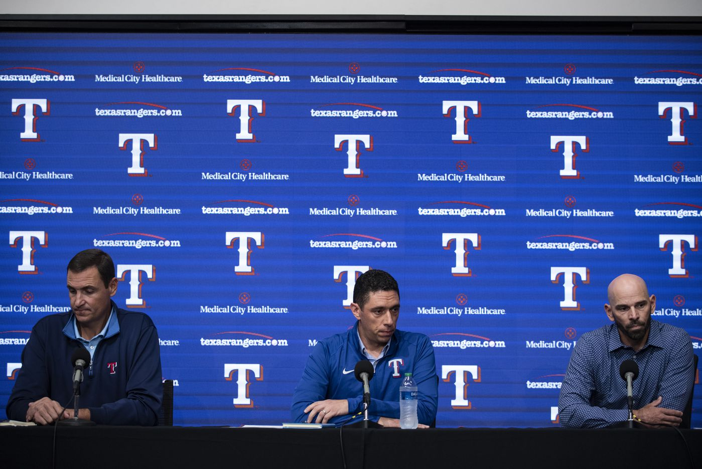 From left, Texas Rangers Executive Vice President and General Manager Chris Young, President of Baseball Operations Jon Daniels, and Manager Chris Woodward take questions from reporters during the Texas RangersÕ end of the year press conference at Globe Life Field on Wednesday, October 6, 2021 in Arlington, Texas. (Emil Lippe/Special Contributor)