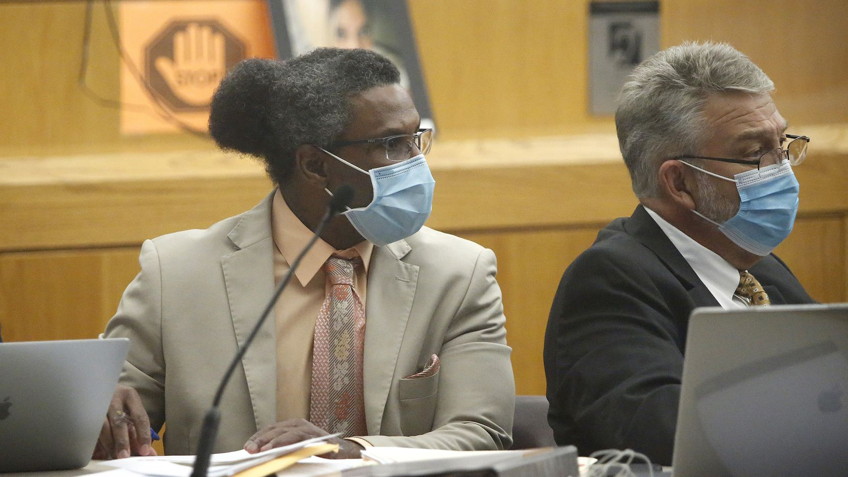Victor Williams (left) listens during his trial at the Frank Crowley Courthouse in Dallas on Tuesday , July 27, 2021.