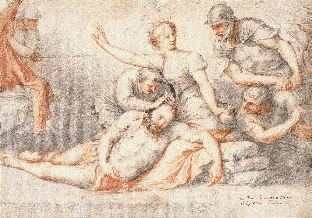 Jusepe de Ribera (Spanish, 1591-1652), Samson and Delilah, mid-1620s. Black and red chalk with traces of pen and brown ink. Museo de Bellas Artes, Córdoba. Inv. CE 0880D.  Between Heaven and Hell: The Drawings of Jusepe de Ribera March 12 – June 11, 2017