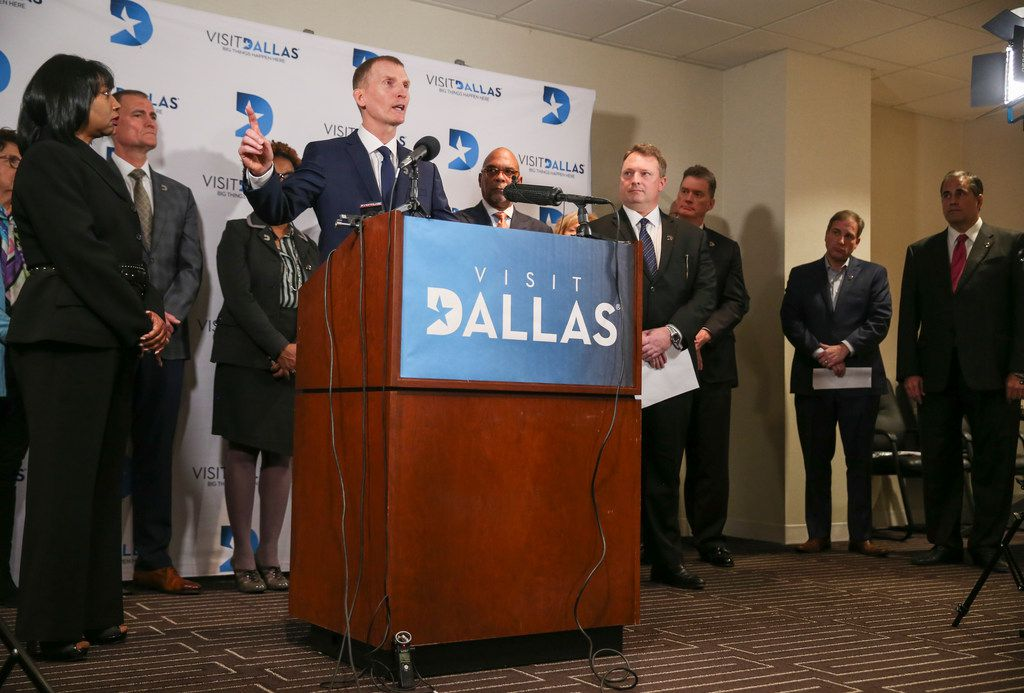 VisitDallas President and CEO Phillip Jones spoke at a news conference in January at the VisitDallas headquarters.
