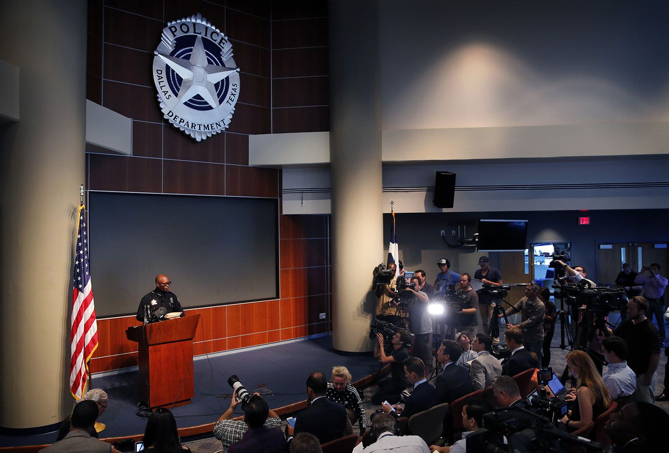 Dallas police chief David Brown responds to questions about last week's shooting of his officers during a press conference at police headquarters in Dallas, Monday, July 11, 2016.