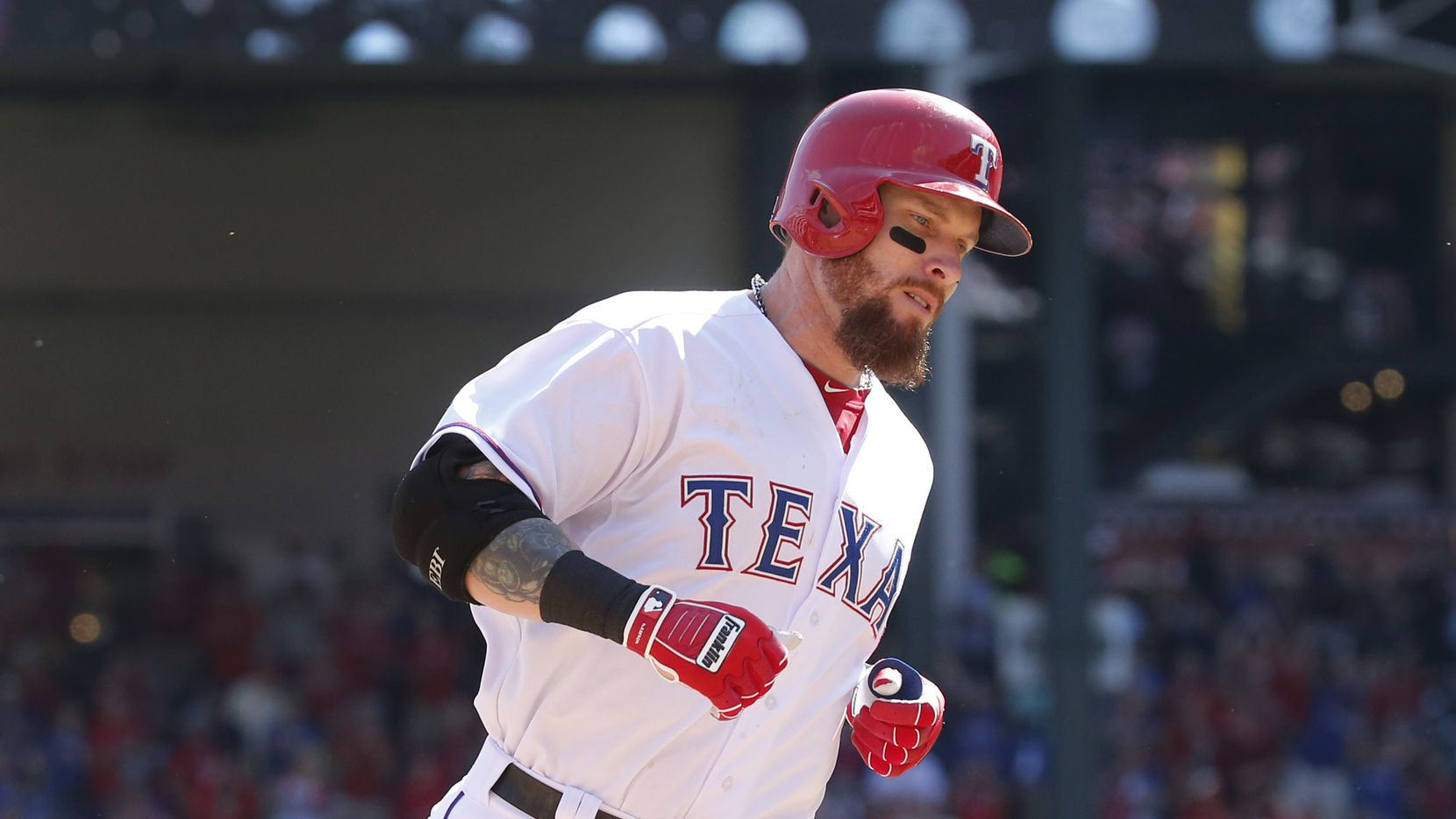 Texas Rangers left fielder Josh Hamilton is pictured during the Los Angeles Angels vs. Texas Rangers game at Globe Life Park in Arlington on Oct. 3, 2015.