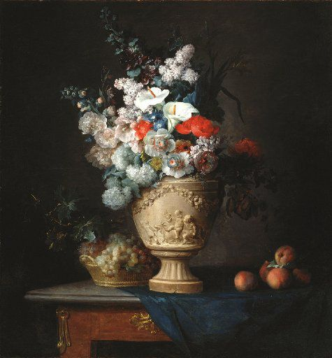 Anne Vallayer-Coster, Bouquet of Flowers in a Terracotta Vase, with Peaches and Grapes; 1776; oil on canvas; Dallas Museum of Art, Foundation for the Arts Collection; Mrs. John B. O'Hara Fund and gift of Michael L. Rosenberg
