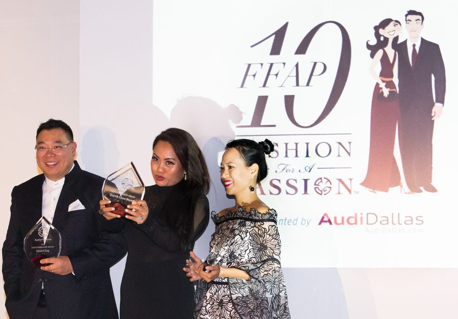 From left, Daniel Eng, Quynh Chau Stone and Khanh Nguyen received Groundbreaker Awards at the Against the Grain Productions Inc. 10th and final Fashion for a Passion runway show at 6500 Cedar Springs in Dallas on Saturday. Photo by Jarvis Jacobs/Special Contributor.