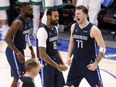 On Tuesday, February 23, 2021, Dallas Mavericks guard Luka Doncic (77) won the fourth quarter against forward James Johnson (16) at the American Airlines Center in Dallas against the Boston Celtics. Morning News)